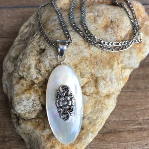 Mother of Pearl Sterling Silver Pendant Necklace